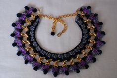 purple and blue necklace,gold statement necklace,crochet jewellery.