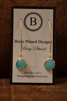 Aqua Chalcedony bezel earring by BetsyPittardDesigns on Etsy, $30.00
