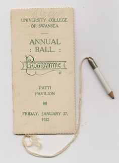 1922 Annual Ball Dance Card, Swansea University