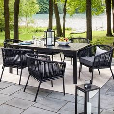 Comfort, style and versatility never looked so good. The Standish 7-Piece Strap Patio Dining Set from Threshold is the modern patio update you've been looking for. If you love to spend time in your outdoor space, you'll appreciate the quality that goes into the handsome patio set. This set is designed to stand up to the elements and continuously give you comfort and performance. Mix and match this outdoor furniture with other pieces from the Standish collection to create a...