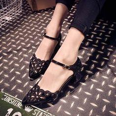 Hollow Chunky Heel Princess Sandals