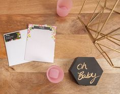 Stationery from Geometric Floral Baby Shower at Kara's Party Ideas. See more at karaspartyideas.com!