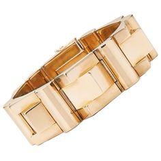 Retro French Rose Gold Tank Bracelet at 1stdibs