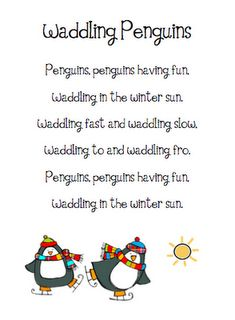 Shared Reading-Cute penguin poems i think with hand priny or foot print penguins Penguin Songs, Penguin Craft, Preschool Poems, Preschool Activities, Preschool Winter, Winter Activities, Winter Craft, Kindergarten Poetry, Day Care