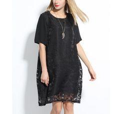Black Floral Lace Loose Fit Short Sleeve Dress | USTrendy www.ustrendy.com #ustrendy.com