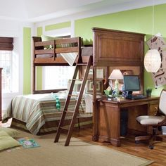 Elite Classics Loft Bed - los of options here. Loft w/ space below for desk and/or storage; chest at end instead of desk...
