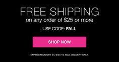 FREE SHIPPING ON ANY ORDER OF $25 OR MORE.  USE CODE:FALL EXPIRES MIDNIGHT ET, 9/27/16. MAIL DELIVERY ONLY. AvonRep shirlean walker
