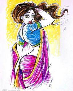 Cartoon Girl Drawing, Cartoon Art, Cartoon Girls, Comic Drawing, Indian Art Gallery, Watercolor Art Face, Beautiful Fantasy Art, Beautiful Roses, Art Painting Gallery