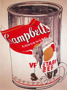 big torn campbell's soup can, andy warhol, 1962