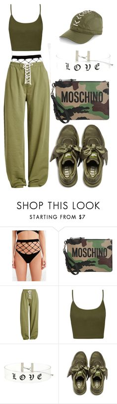 """Untitled #16"" by kalienajb on Polyvore featuring Out From Under, Moschino, Puma, Topshop and Forever 21"
