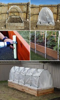 Raised Garden Beds Can Be Turn into Hoop Houses just Using PVC Pipes and Plastic Sheeting.
