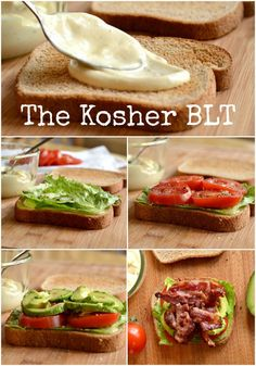 The Kosher BLT Sandwich with Beef Bacon! I use Wellshire Beef Bacon from Whole Foods. Kosher Recipes, Paleo Recipes, Whole Food Recipes, Great Recipes, Favorite Recipes, Kosher Lunches, Kosher Meals, Comida Kosher, Beef Bacon