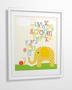 Nursery art, Kids art, Nursery wall art, baby nursery art, elephant, alphabet - 8x10. $11.00, via Etsy.