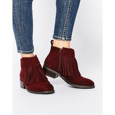 ASOS AGAINST THE WIND Fringe Ankle Boots (185 SAR) ❤ liked on Polyvore featuring shoes, boots, ankle booties, oxblood, fringe bootie, oxblood booties, fringe boots, asos boots and flat sole boots