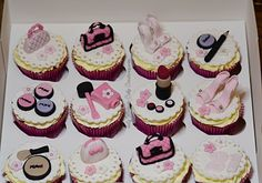 Stiletto, bags and make-up cupcakes designed for your special lady's birthday.