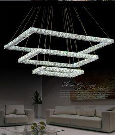 Modern Restaurant Rectangle k9 Crystal LED lampada Dimming led Chandelier Fixture Crystal Light Lustre led Light