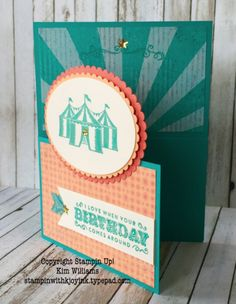 Stampin Up Carousel Birthday stamp set. Creative card fold called Dutch Door Fold. Kim Williams, Stampin with Kjoyink, Pink Pineapple Paper Crafts. Unique card fold that is really easy to create. See the video on how to create this easy card idea and dutch door fold.