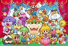 The whole Paper Mario crew
