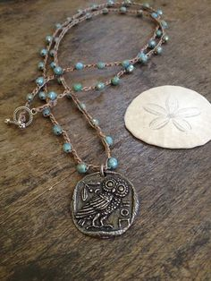 Athena's Owl Coin, Knotted Necklace, Boho Chic
