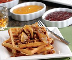 Cinnamon Waffles with Apple-Pecan Topping #Recipe