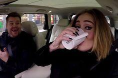 Adele chugging #tea with JKCorden #celebrities