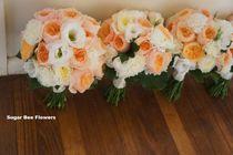apricot & white flowers bouquet