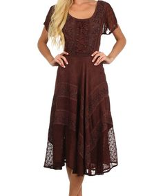 Another great find on #zulily! Brown Embroidered A-Line Dress - Plus Too #zulilyfinds $44.99