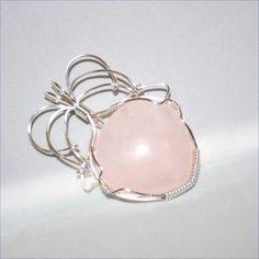 Therese - A Rose Quartz Pendant, Rose Quartz Jewelry, Wire Wrapped Pendant, Wire Wrapped Jewelry by WireWizardz on Etsy