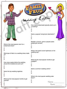 family feud gamewedding shower instant download