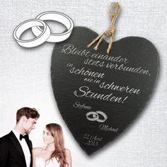 Eine wunderschöne Geschenkidee, besonders als Dekoration und Erinnerung für verliebte Brautpaare - dieses Schieferherz mit Gravur - Hochzeit wird verzaubern! via: www.monsterzeug.de