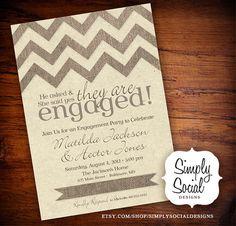 Burlap Chevron Engagement Party Invitation by SimplySocialDesigns, $22.00