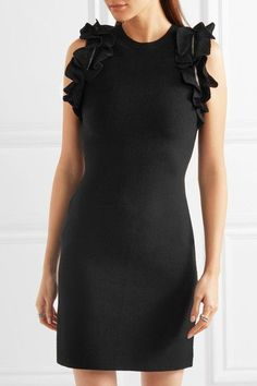 3.1 Phillip Lim - Zip-detailed Ruffled Stretch-cotton Mini Dress - Black - x small