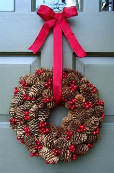 Pinecone and berry wreath.