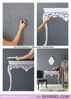 Paint and a wooden board= fake table. Cute idea!