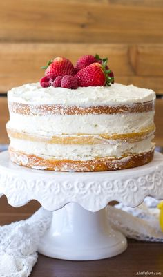 Berry Vanilla Naked Cake -vanilla cake swirled with a homemade berry puree and frosted with lemon whipped cream