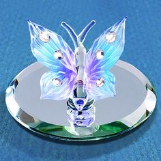 Glass Baron Blue Butterfly Figurine #glassbaron #glass #figurine #butterfly