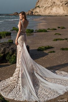 Nurit Hen Royal Couture Beach Wedding Dresses / http://www.deerpearlflowers.com/lace-wedding-dresses-and-gowns/