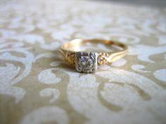 Antique Gold Diamond Engagement Wedding Band Ring by charmingellie. $255.00, via Etsy.