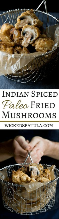 Paleo Fried Mushrooms spiced with Indian spices for a flavorful appetizer! Indian Food Recipes, Real Food Recipes, Cooking Recipes, Fried Mushrooms, Stuffed Mushrooms, Fried Mushroom Recipes, Paleo Vegetables, Veggies, Tapas