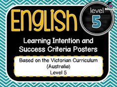 VICTORIAN CURRICULUM - Level 5 English Learning INTENTIONS & Success Criteria!