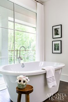 The soaking tub from MTI rests in a niche overlooking the backyard. Outdoor Living Areas, Buckhead, Comfortable Furniture, French Country Cottage, Interior Design, Indoor, Home, Living Area, Interior