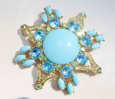 Vintage Gold Toned Blue Aquamarine Turquoise by PaganCellarJewelry, $24.99