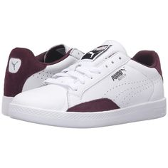 PUMA Match Lo Basic Sports (Puma White/Winetasting) Women's Shoes ($60) ❤ liked on Polyvore featuring shoes, athletic shoes, white athletic shoes, sports footwear, perforated shoes, laced up shoes and laced shoes