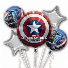 Marvel Captain America Balloon Birthday Party Favor Supplies 5ct Foil Balloon Bouquet