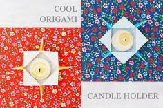 I am happy that my SIMPLE ORIGAMI BOX got so much attention. Thank you for sharing and pinning it! Origami Paper Art, Origami Easy, Diy Paper, Paper Crafts, Diy Crafts, Origami Boxes, Origami Candle Holder, Candle Holders, Diy Candles