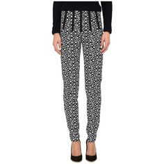 Neil Barrett Pants Women's Casual Pants ($398) ❤ liked on Polyvore featuring pants, multi, white side zip pants, print pants, neil barrett, side zip pants and white pants