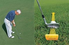 Visualize your putting stroke: You'll make crisper contact on your chips if you swing the club straight back (left). Imagine your putting motion (right).