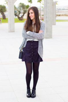falda negra abotonada #kissmylook