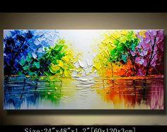 árbol colorido de pared contemporánea arte, pintura de la espátula, la pintura, la pared decoración Home Decor, acrílico con textura pintura sobre lienzo por Chen 0708
