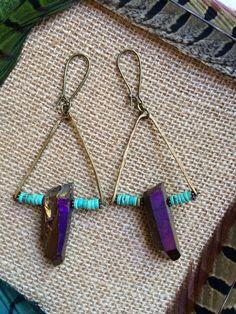Rainbrite... Wine quartz crystal stone earrings on Etsy, $18.00